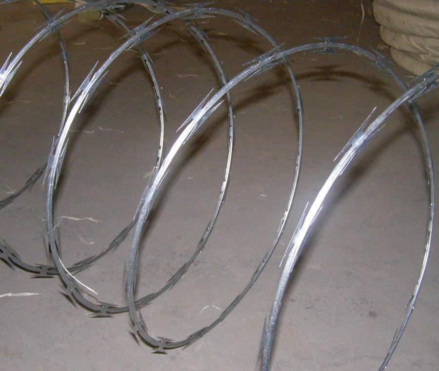 Single Loop Wire : Galvanized razor wire cross concertina or single coil