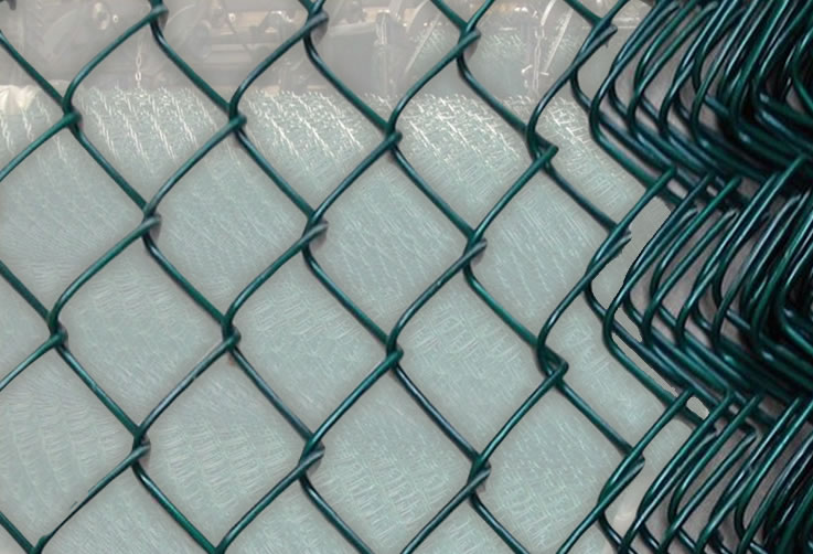 Y Post Barbed Wire Topped Black Coated Mesh Fence
